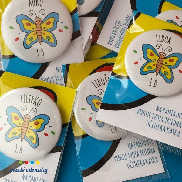 Odznak a magnetka s motívom motýlik