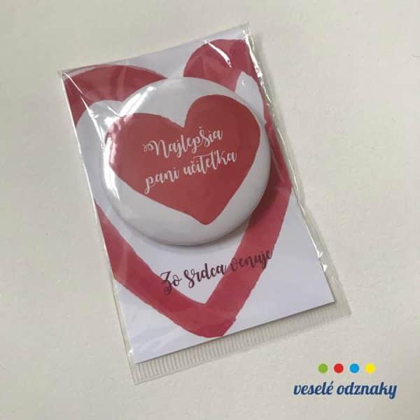 Odznak a magnetka s motívom pre pani učiteľku