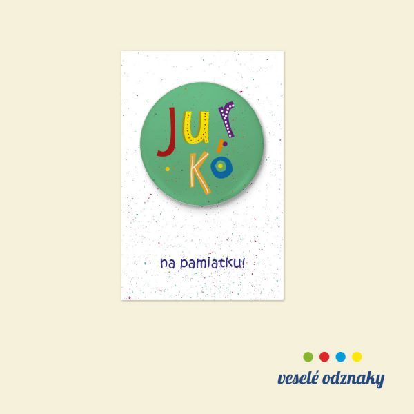 Odznak a magnetka s menom Jurko