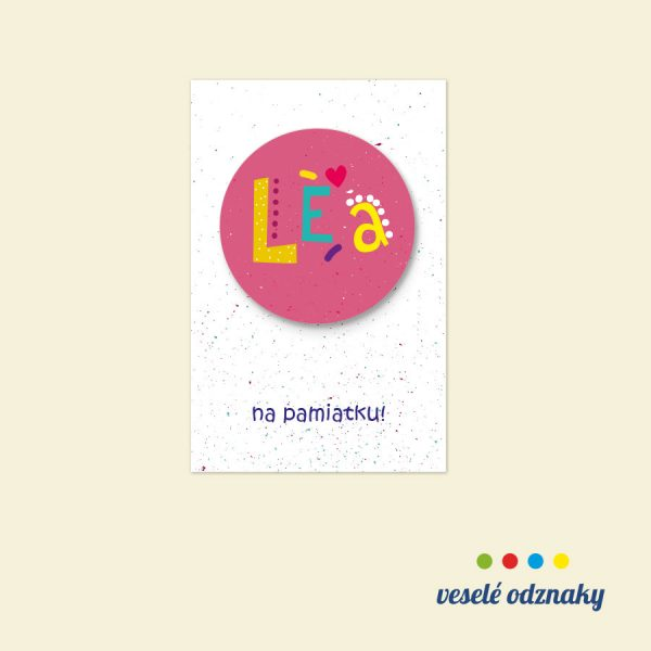 Odznak a magnetka s menom Lea