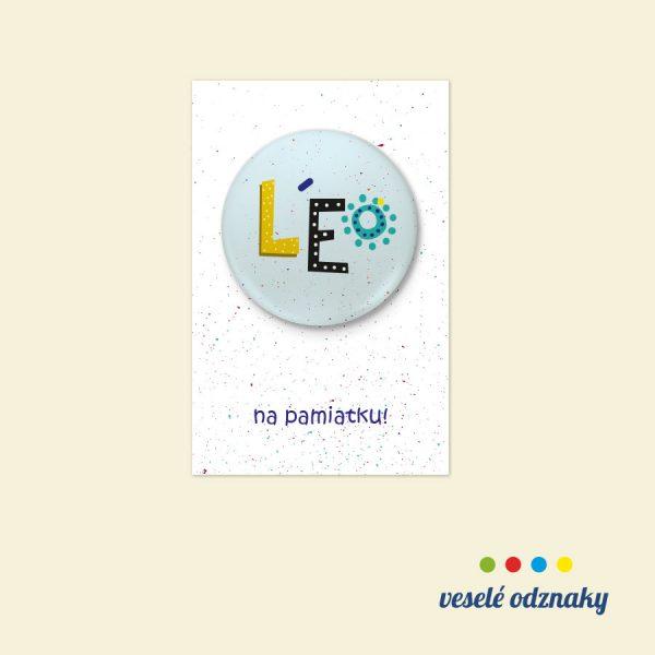 Odznak a magnetka s menom Leo