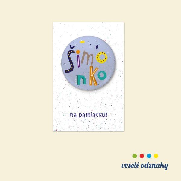 Odznak a magnetka s menom Šimonko